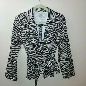 Zebra print belted coat